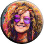 Janis Joplin Psychedelic Music Magnet Pin-Badge