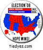 Hope Wins! Electoral Map Democratic Presidential Magnet (Pin, Badge) Magnet