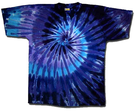 Tie Dyed Twilight Spiral Tee from Tara Thralls Designs' tiedyes.com