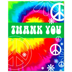8 Tie Dyed Thank You Notes