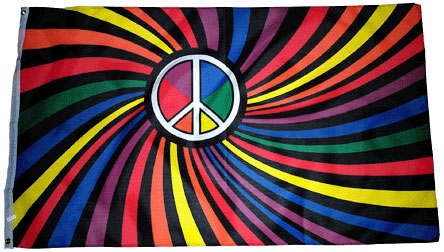 Rainbow/Black Peace Flag by Tiedyes.com